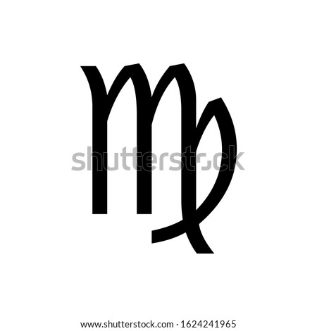 Black Virgo symbol for banner, general design print and websites. Illustration vector.