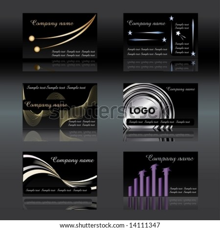 Black Visiting cards set 4 vector illustration easy to change