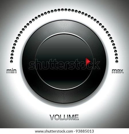 Black volume knob with calibration vector illustration.