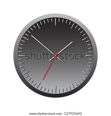 Black wall mechanical clock. Vector illustration