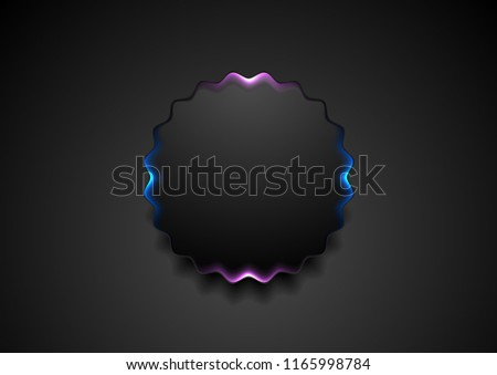 Black wavy circle badge with glowing blue and purple light abstract background. Vector corporate design