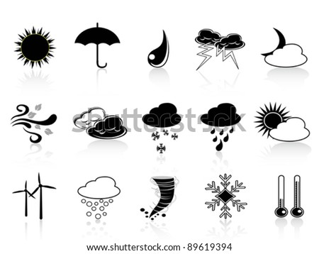 black weather icon set