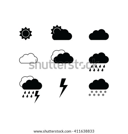 Black weather icons set. Vector icons for weather forecast.