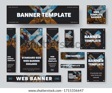 Black web banner template with cross and blurry photo, geometric business posters, for advertising in online stores, social media.Set of standard cards with vector illustration for design presentation