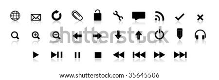 black web button set - stock vector
