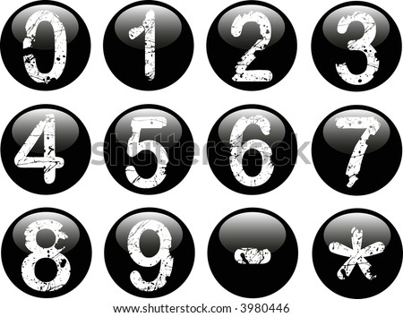 Black Web Buttons with Acid Etched White numbers on them from 0-9