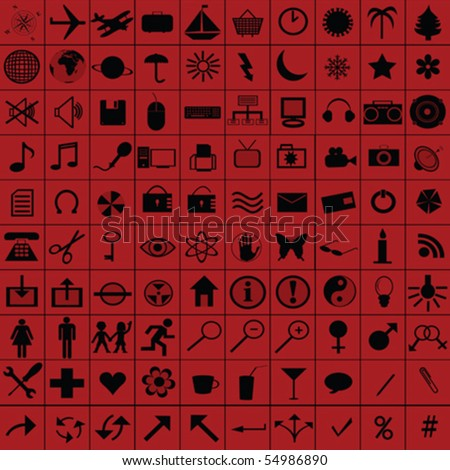 Black web icons over red background