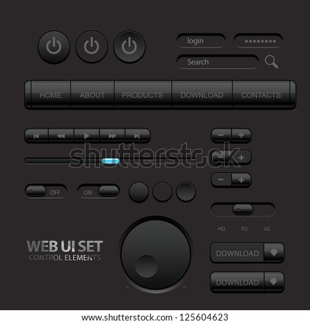 Black Web UI Elements. Buttons, Switches, bars, power buttons, sliders. Part two. Vector illustration