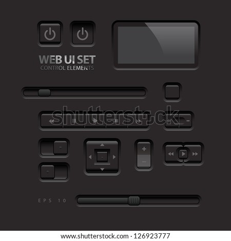Black Web UI Elements. Buttons, Switches, bars, power buttons, sliders. Vector illustration #126923777