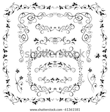 stock vector Black wedding borders