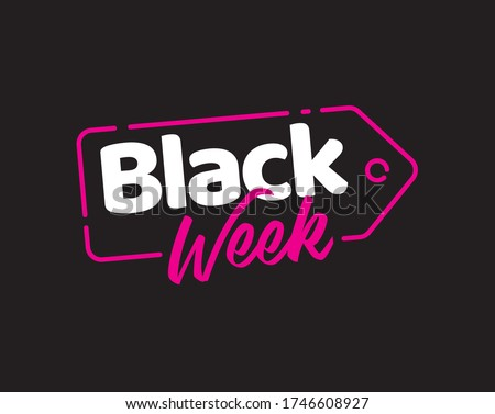 Black Week Friday design sale title banner simple vector Stockfoto ©