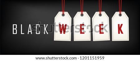 Black week sale white tags advertising on black background vector illustration