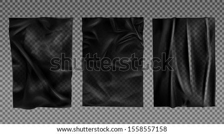 Black wet paper, bad glued wheatpaste set. Wrinkled and creased sheets with crumpled texture isolated on transparent background, blank posters mock up for ads design. Realistic 3d vector illustration