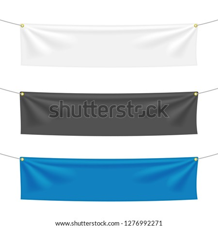 Black, white and blue textile banners with folds #1276992271