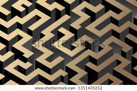 Black, white and golden color maze, labyrinth. Vector illustration