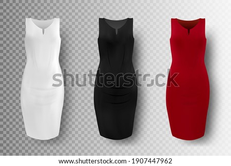 Black, white and red dress mockup set, vector illustration isolated on transparent background. Realistic elegant pencil dresses. Women apparel, ladies clothing and fashion. Stockfoto ©