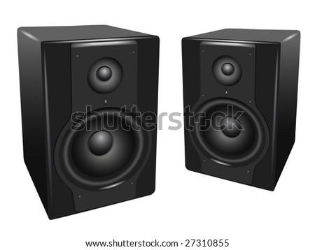 black-white audio speakers