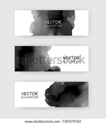 black white banners set with
