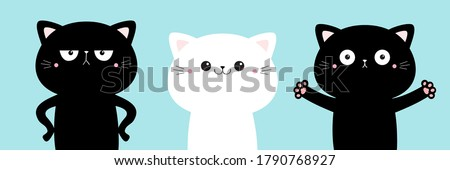 Black white cat icon set. Cute kawaii cartoon character. Funny kitten kitty giving a hug, angry. Happy Valentines Day. Greeting card tshirt notebook cover print. Baby background. Flat design. Vector