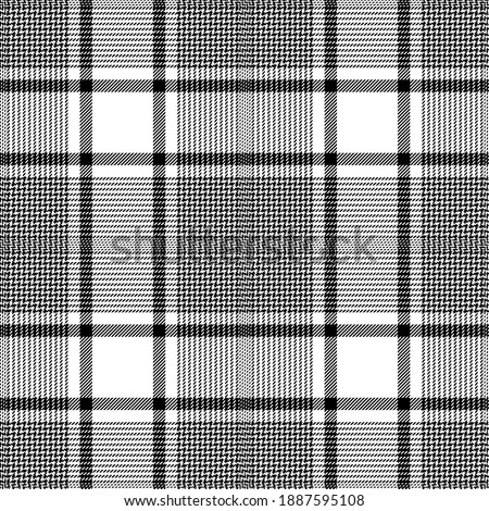 Black, white colors modern glen plaid Scottish seamless pattern.Texture from plaid,tablecloths, clothes, shirts, dress, jacket, skirt, paper, blankets and other textile products. Foto stock ©