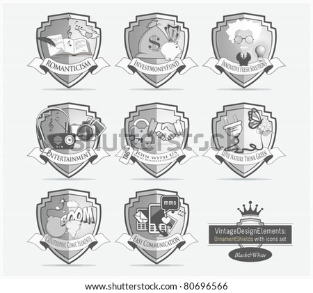 Black & White Design icons set with badges shields