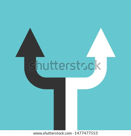 Black, white double arrow dividing in two separate ones. Decision, partnership, relationship, crisis, choice, separation concept. Flat design. EPS 8 vector illustration, no transparency, no gradients Stockfoto ©