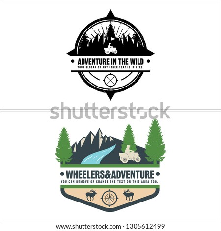 black white green blue brown combination circle mountain tree pine man car river deer logo design concept suitable for sport recreation travel holiday industrial