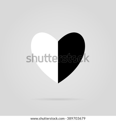 black white heart in two  vector