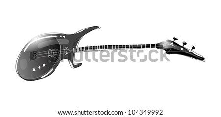 Black & white illustration of electric guitar