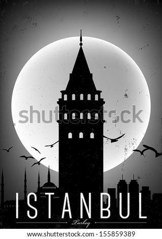 black white istanbul city poster