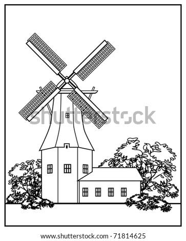 Black-white line-art illustration of the wind mill.