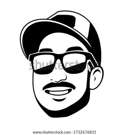 black white logo man in black