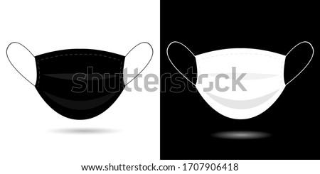 Black, white medical or Surgical Face Mask. Virus protection, health care. Coronavirus, pandemic. Breathing Respirator Mask. Set of vector Illustration. Flat medical mask for face, avatar
