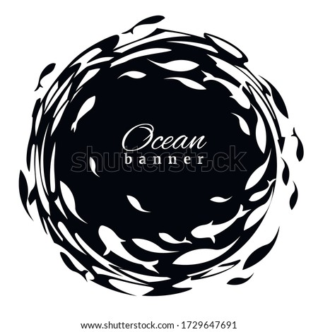 Black-white ocean banner. Fish label design template. Fish logo design  for fish merchant or seafood restaurant. Vector illustration. ストックフォト ©