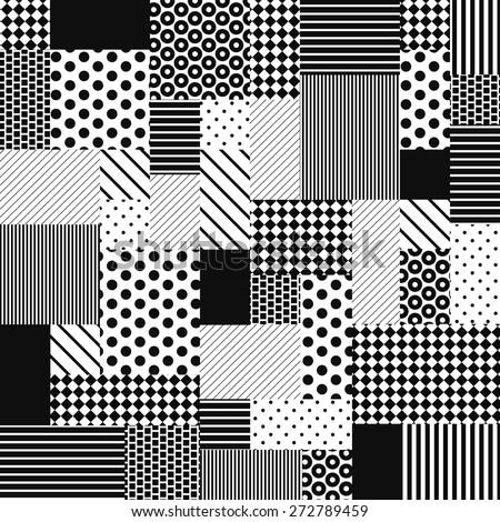 black white patchwork vector
