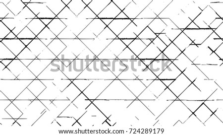 Black-White Seamless Grunge Dark Distressed Pattern. Abstract Ink Overlay. Endless Vector Wide-Screen Background. Dots, Spots, Noise, Cracks, Stain, Dirt, Spray Paint. Weathered Stylish Chaotic Effect