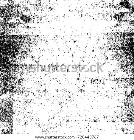 Black-White Seamless Grunge Wall Distressed Pattern. Abstract Ink Overlay. Vector Background With Dots, Spots, Noise, Scratches, Cracks, Stain, Dirt, Spray Paint. Old Weathered Antique Chaotic Effect
