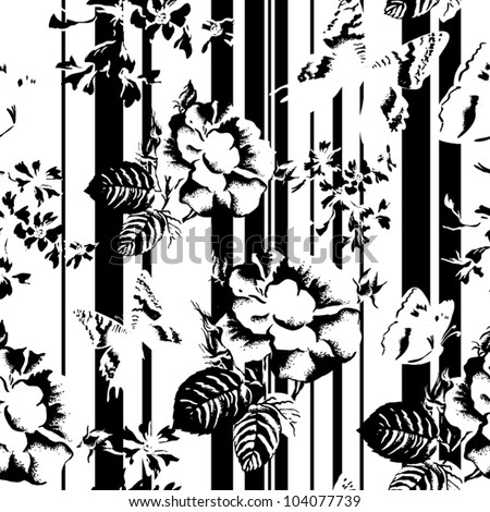 black-white seamless texture with flowers on a striped background.  Vector background for textile design in vintage style