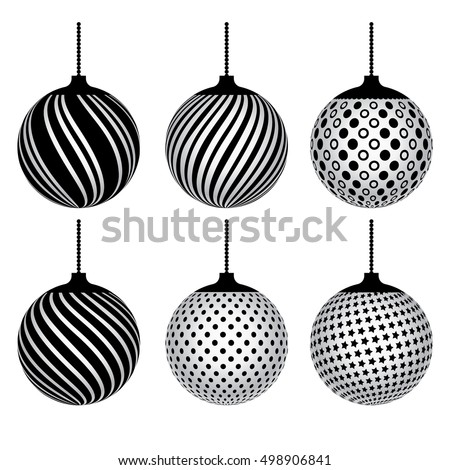 black white set of decorative