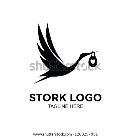 black white stork logo, clip art vector Foto d'archivio ©