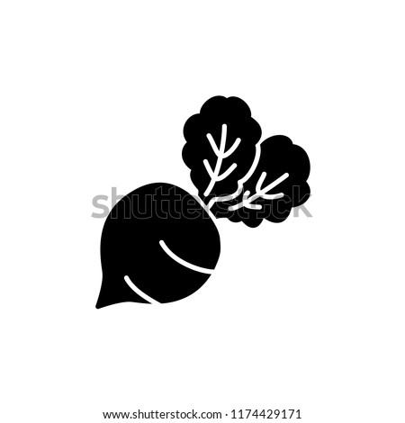 Black & white vector illustration of table beet vegetable. Flat icon of fresh organic garden beet veggie with leaves. Vegan & vegetarian food. Health eating ingredient. Isolated  on white background.