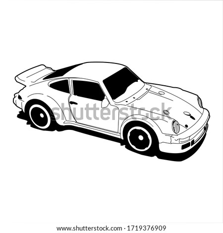 black white vector sports car