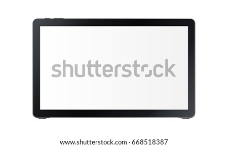 Black wide tablet Samsung Galaxy View with blank screen isolated on white background. Vector illustration