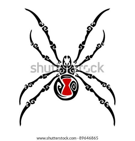Black Widow Spider Tattoo - stock vector