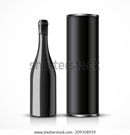 black wine bottle with packaging box isolated over white background