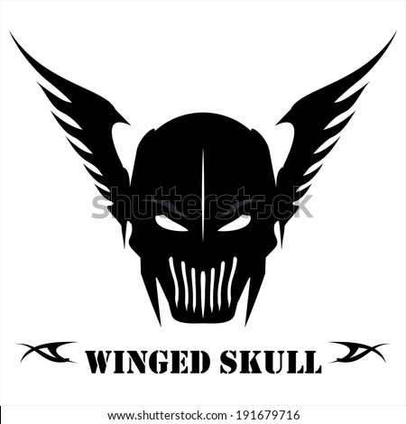 black winged skull