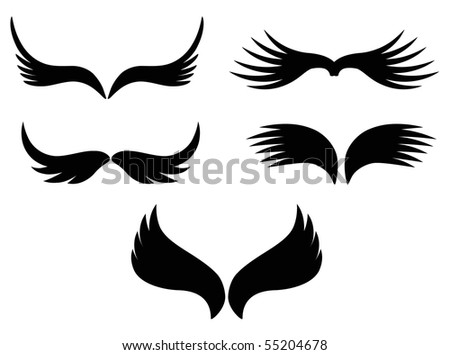 black wings symbol set