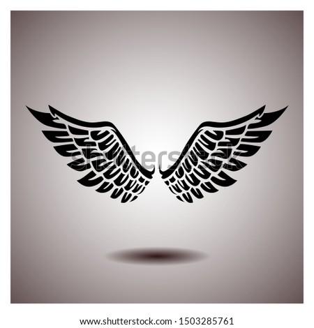 black wings vector, icon wings on gradien background.