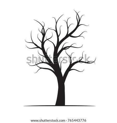 Black Winter Naked Tree. Vector Illustration.
