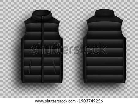 Black winter puffer vest, sleeveless jacket mockup set, vector illustration isolated on transparent background. Realistic warm waistcoat, down padded vest, front and back view. Stock photo ©